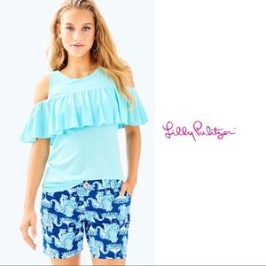 NEW Lilly Pulitzer Lyra Ruffle Blue Cold Shoulder